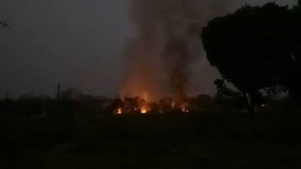 Fire broke out at the Ordnance Factory Khamaria in Jabalpur, Madhya Pradeshm after over 30 explosions reportedly occurred.