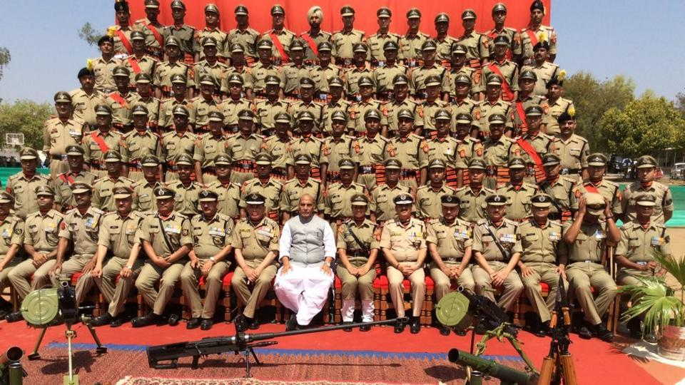 Rajnath Singh at the passing out parade of BSF Assistant Commandants in Tekanpur on Saturday.