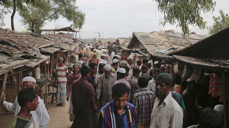 Rohingya Muslims from Myanmar at an unregistered refugee camp in Teknaf, near Cox's Bazar in Bangladesh.