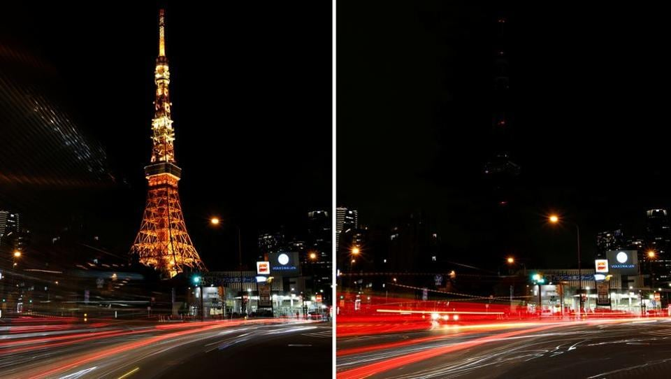 A combination photo shows the Tokyo Tower before (L) and after its lights were switched off for Earth Hour in Tokyo, Japan. (Issei Kato / REUTERS)