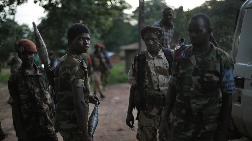 Ex-Seleka fighters return to base at the end of the day in Bambari, Central African Republic.