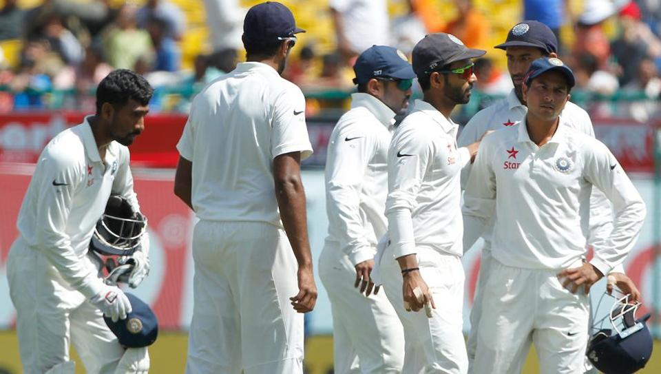 Ajinkya Rahane (centre) became India's 33rd Test captain during the fourth match against Australia in Dharamsala.