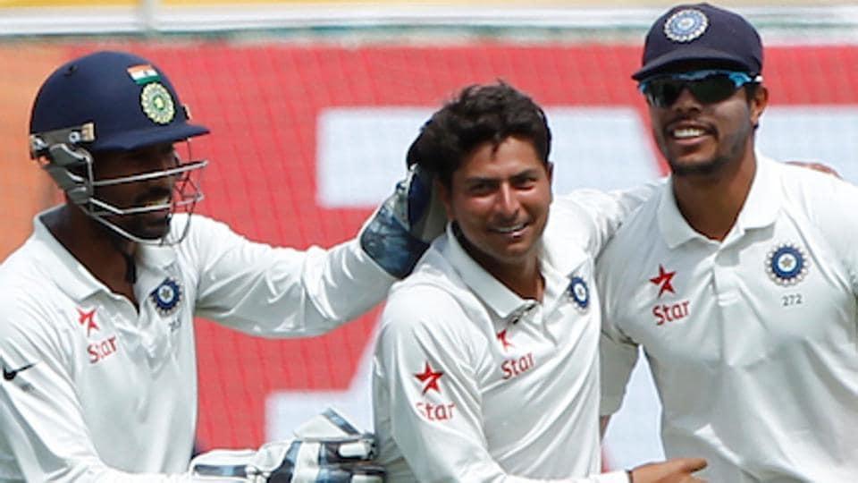 Kuldeep Yadav celebrates after dismissing Glenn Maxwell in the fourth India vs Australia Test match in Dharamsala. (BCCI)