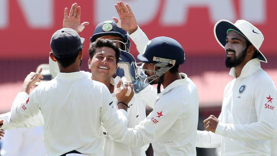 Kuldeep Yadav took four wickets on Day 1 of the fourth India vs Australia Test in Dharamsala. Catch highlights of India vs Australia fourth Test here.