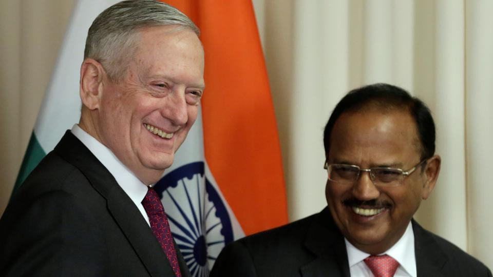 US Defense Secretary James Mattis (L) welcomes Ajit Doval, National Security Advisor of India, before their meeting at the Pentagon in Washington.