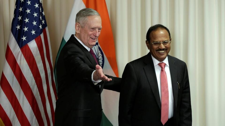 US defence secretary James Mattis (L) welcomes Ajit Doval, National Security Advisor of India, before their meeting at the Pentagon in Washington.