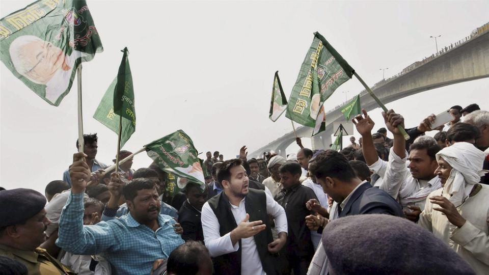 Bihar deputy chief minister Tejaswi Yadav leaving after the inauguration of the Patna to Hajipur Pipa Bridge in Hajipur on Saturday.