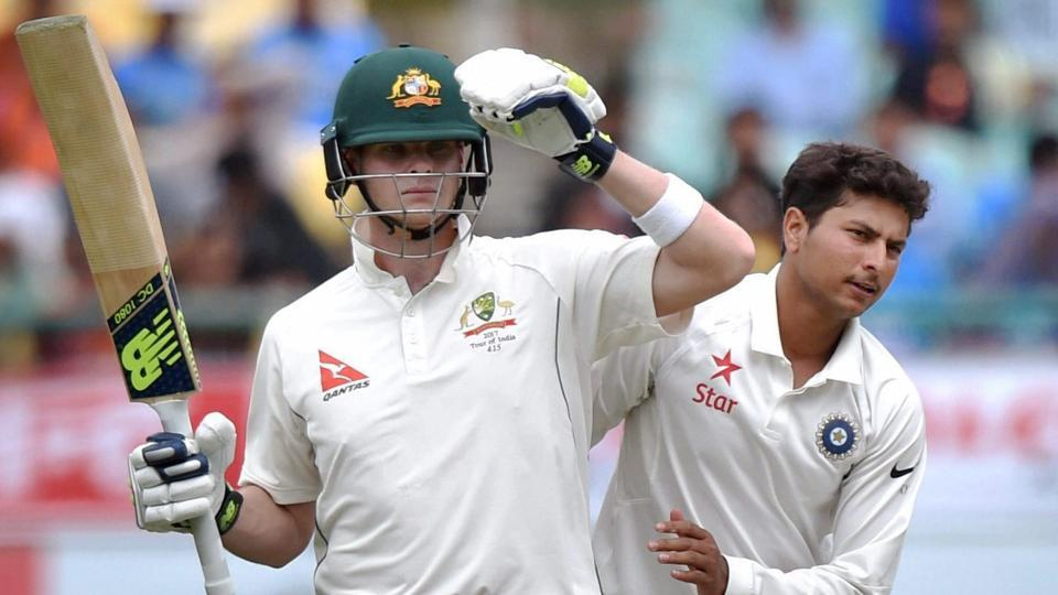 Australia captainSteve Smith and India's Kuldeep Yadav during the first day of last test match against India at HPCA Stadium in Dharamsala on Saturday.