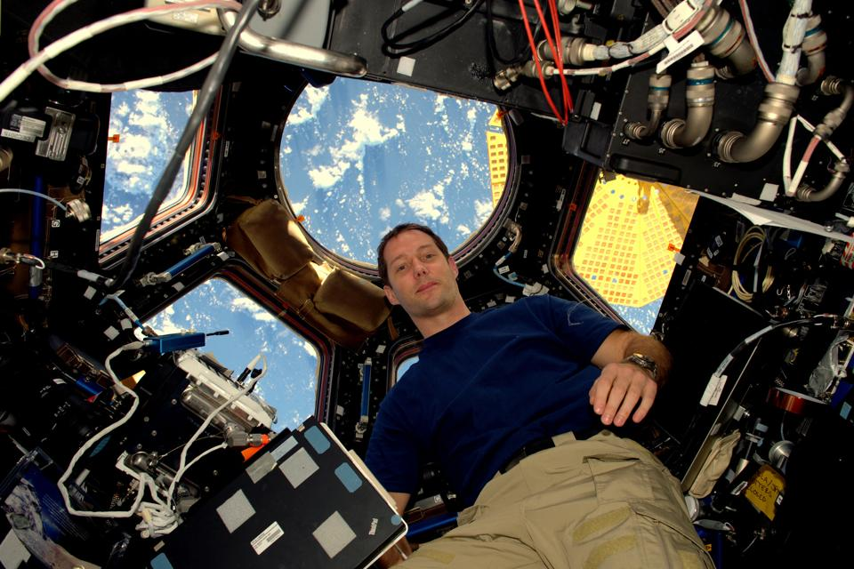 French astronaut Thomas Pesquet is seen in the International Space Station 's Cupola observatory. He, along with U.S. station commander Shane Kimbrough, completed a six and a half hour spacewalk outside the International Space Station (ISS) on Friday.