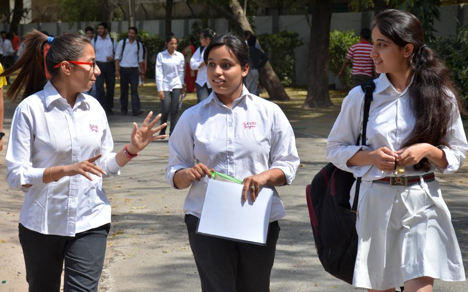 Students coming out of an examination centre in Gurgaon after appearing for the CBSE  class 12 chemistry paper on Saturday. (
