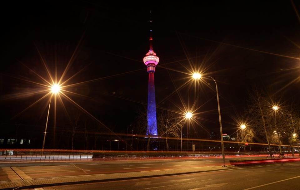 The China Central Radio and Television Tower is pictured before Earth Hour in Beijing, China. (Jason Lee / REUTERS)