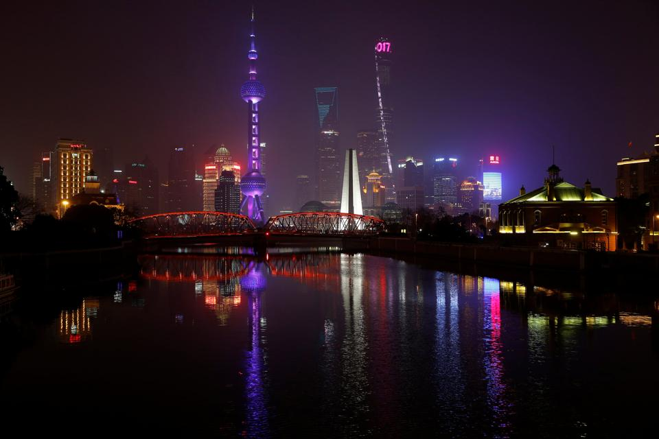 The Bund on the banks of the Huangpu River is pictured before Earth Hour in Shanghai, China. (Aly Song/ REUTERS)