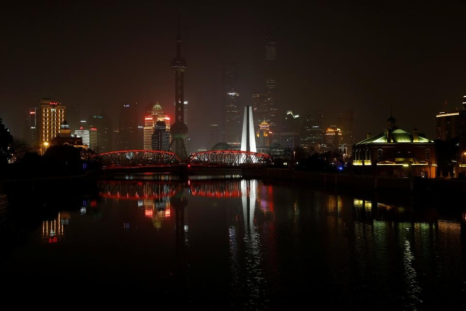The Bund on the banks of the Huangpu River is pictured during Earth Hour in Shanghai, China. (Aly Song/ REUTERS)