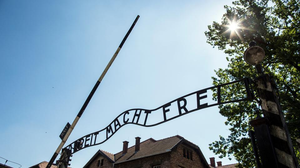 The entrance to the Auschwitz-Birkenau State Museum in Poland.