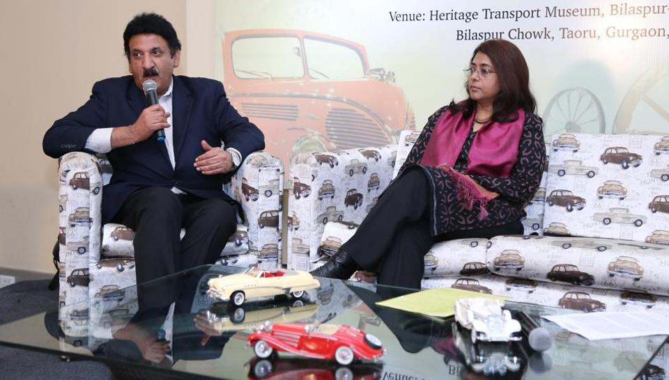 Founder, Heritage Transport Museum, Tarun Thakra (L), and postmaster general, Kalpana Rajsinghot at the launch.