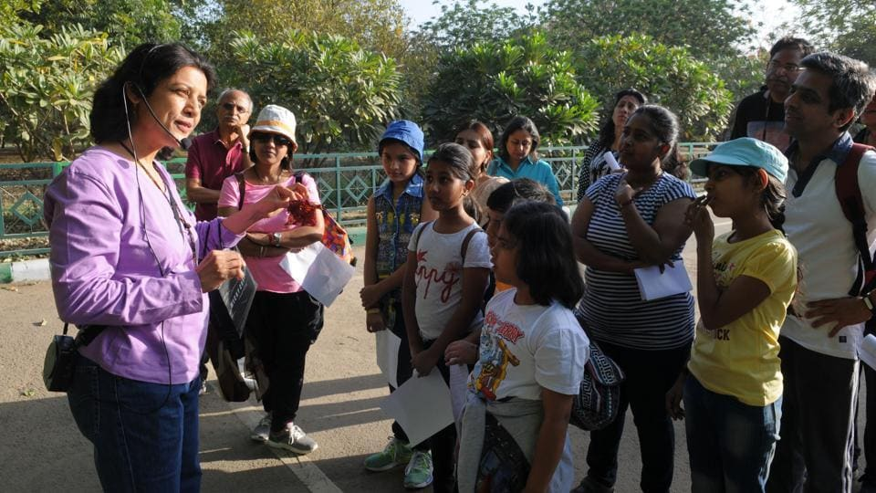 Kavita Prakash, a naturalist, who headed the walk, informed participants about the various trees.
