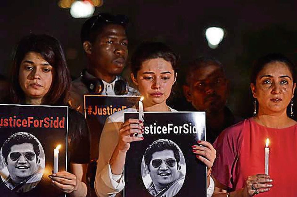 Family members and friends of Sidharth Sharma, a 32-year-old IT professional who was killed after he was hit by a speeding Mercedes, hold a protest for justice at Central Park, Connaught Place, New Delhi, on Sunday.