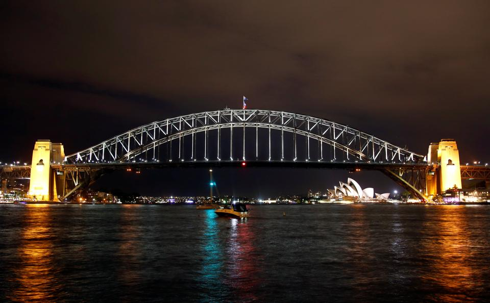 The Sydney Harbour Bridge seen before the tenth anniversary of Earth Hour in Sydney, Australia. (David Gray / REUTERS)