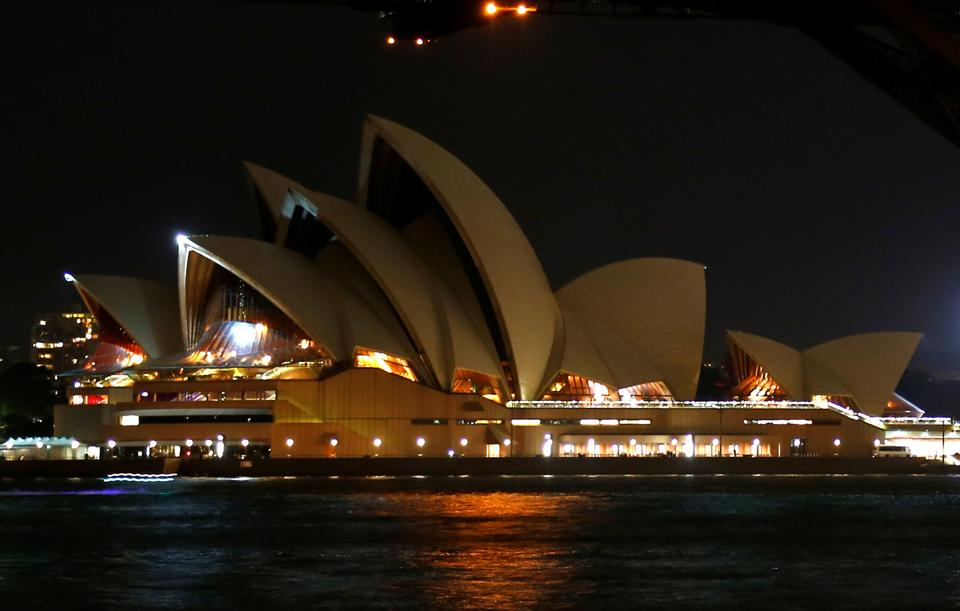 The Sydney Opera House seen during the tenth anniversary of Earth Hour in Sydney, Australia. (David Gray / REUTERS)