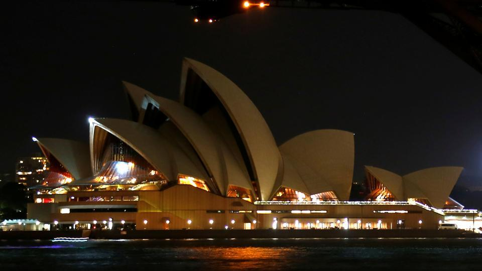 The Sydney Opera House seen during the tenth anniversary of Earth Hour in Sydney on March 25.