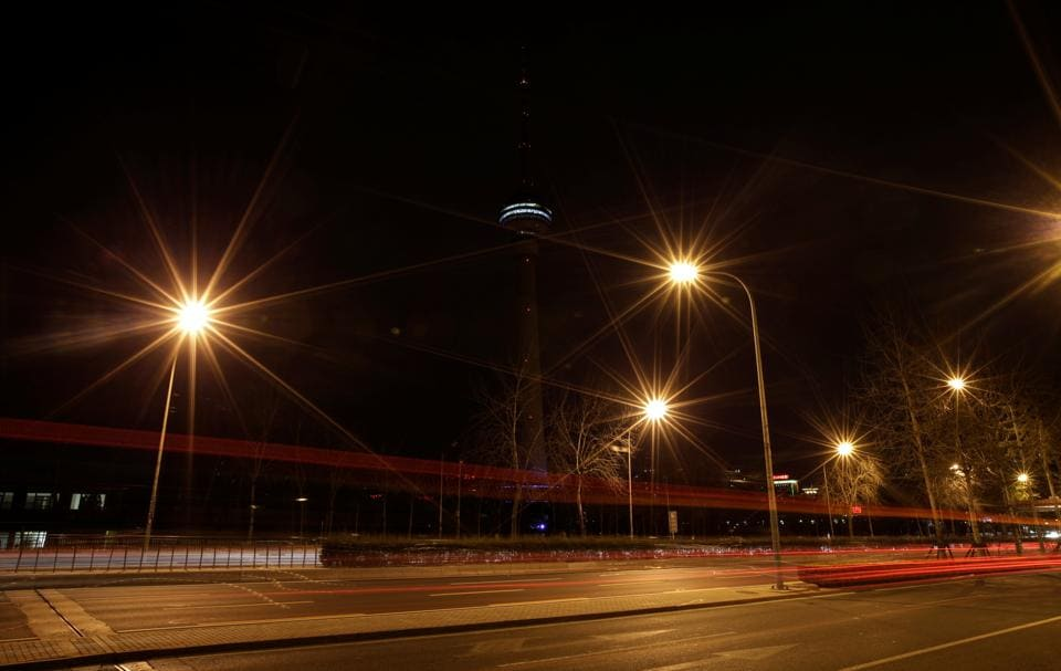A view of China Central Radio and Television Tower during Earth Hour in Beijing, China. (Jason Lee / REUTERS)