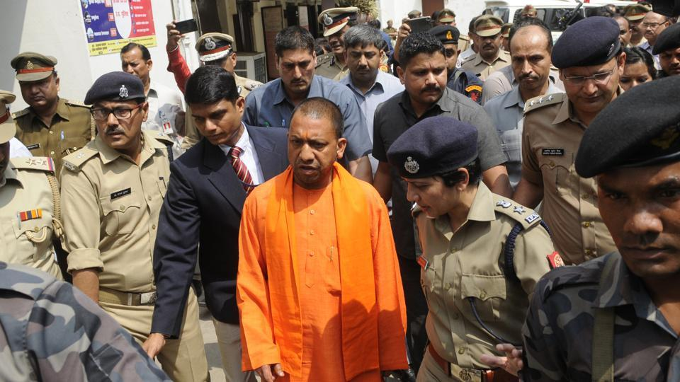 Chief minister of Uttar Pradesh Yogi Adityanath conducted a surprise inspection to Hazratganj police station in Lucknow on Thursday.