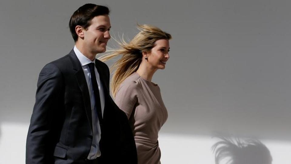 White House senior adviser Jared Kushner and his wife Ivanka Trump at the White House in Washington, US.