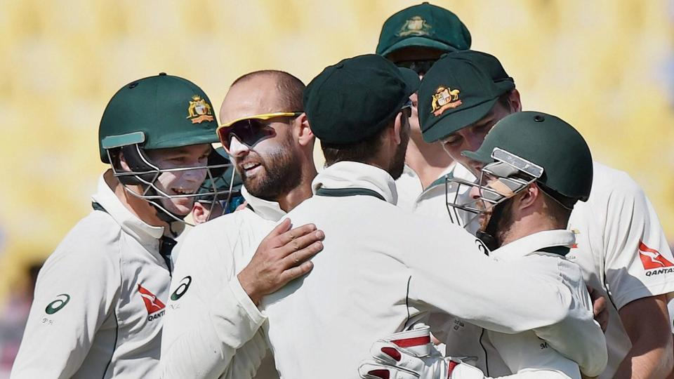 Matthew Wade(C), Nathan Lyon celebrate the wicket of Karun Nair. (PTI)