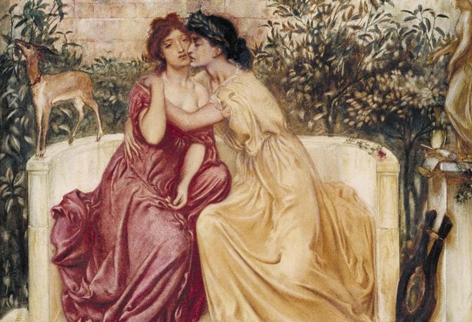 """Sappho and Erinna in a Garden at Mytilene"" by Simeon Solomon."