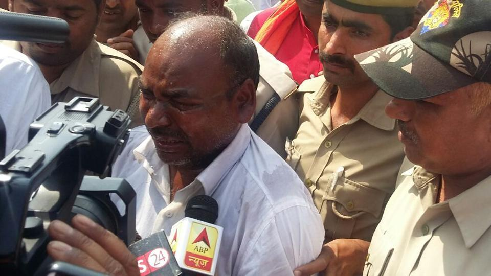 Rajkumar Bharti poured petrol and tried to set himself afire during a programme attended by Adityanath.