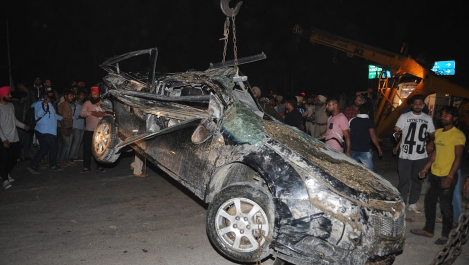 A total of four persons including a woman and two children were travelling in the car.