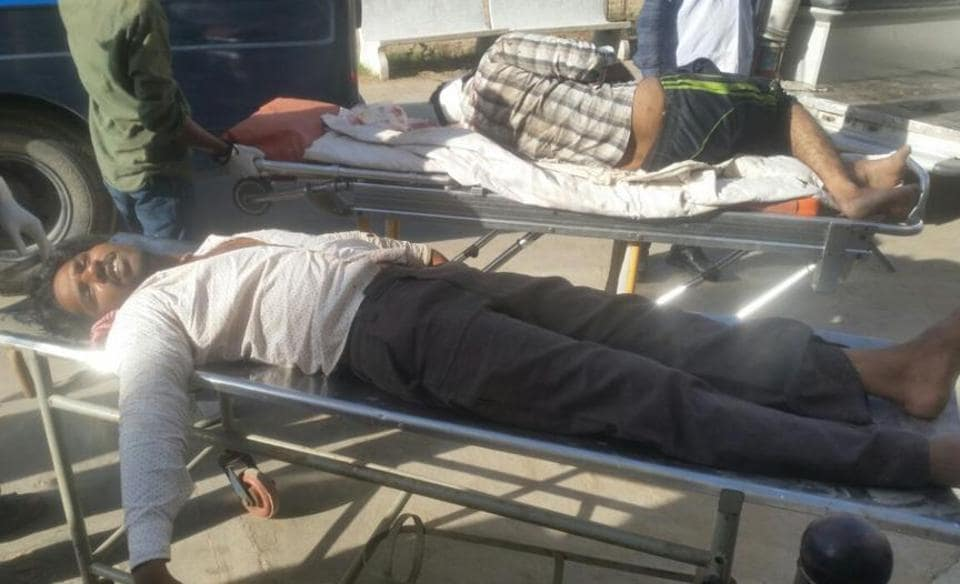 The injured in the riot being admitted to Mehsana Civil Hospital in Gujarat.