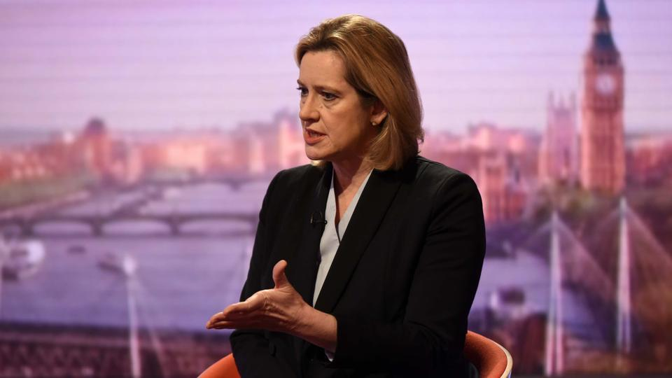 Britain's home secretary Amber Rudd is seen appearing on the BBC's Andrew Marr Show in this photograph received via the BBC in London, Britain March 26.