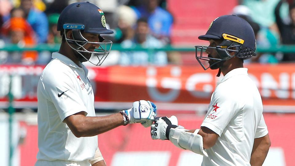 Cheteshwar Pujara and Ajinkya Rahane in action against Australia in Dharamsala. (BCCI)