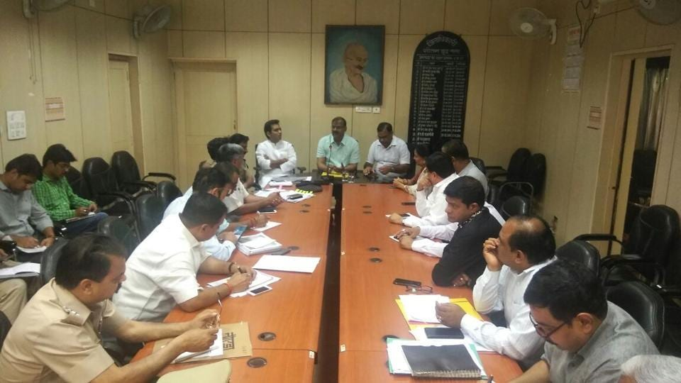 Gautam Budh Nagar district magistrate chairs a meeting with senior officers of the district at Noida camp office on Sunday.