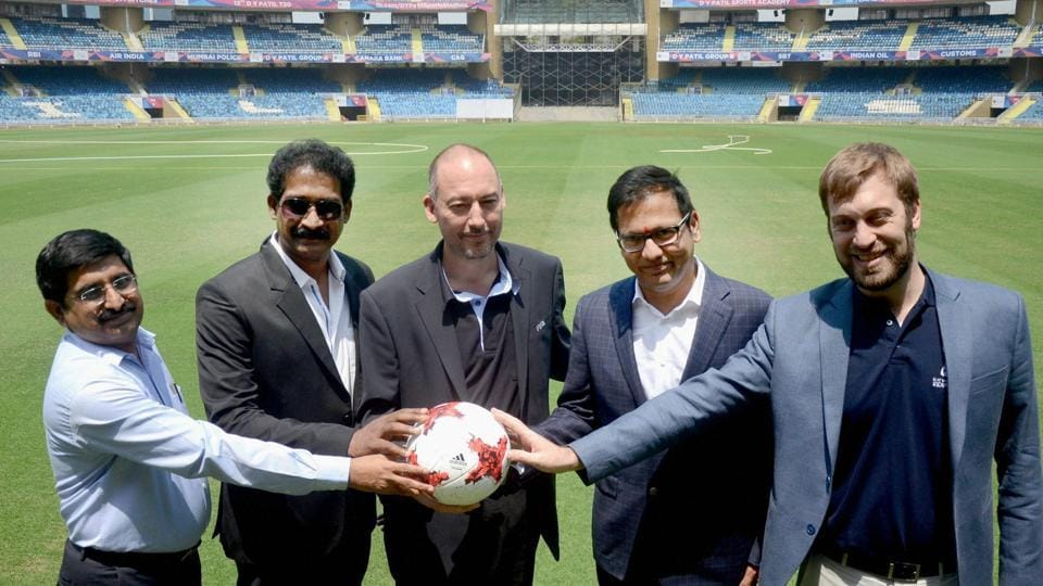 A delegation of the FIFA U-17 Football World Cup at DY Patil Stadium in Navi Mumbai on Saturday.