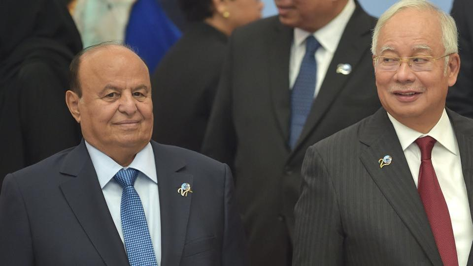 Yemen's President Abedrabbo Mansour Hadi (left), along with Malaysia's Prime Minister Najib Razak, during the Indian Ocean Rim Association (IORA) summit in Jakarta on March 7.