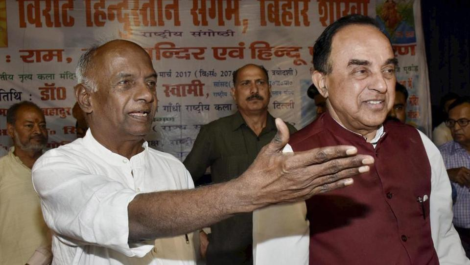 BJP MP Subramanian Swamy (right) with former RSS ideologue KN Govindacharya during a lecture on 'Ram Mandir and Hindu Punarjagran' in Patna on Sunday.