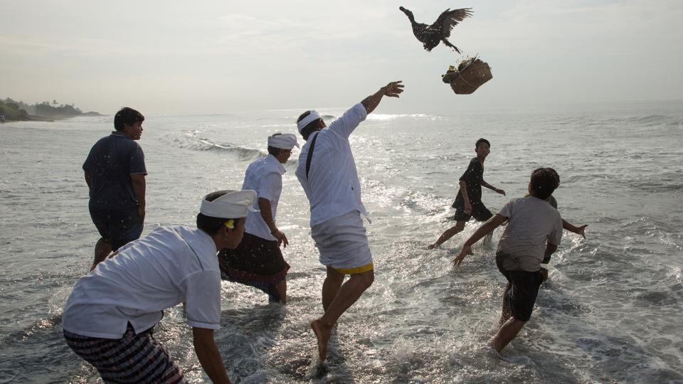 A Balinese Hindu throws a duck into the ocean as an offering during Melasti, a purification ceremony ahead of the holy day of Nyepi. (Agung Parameswara/REUTERS)