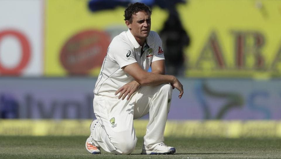 Australia's Steve O'Keefe reacts after makes an unsuccessful appeal. (AP)