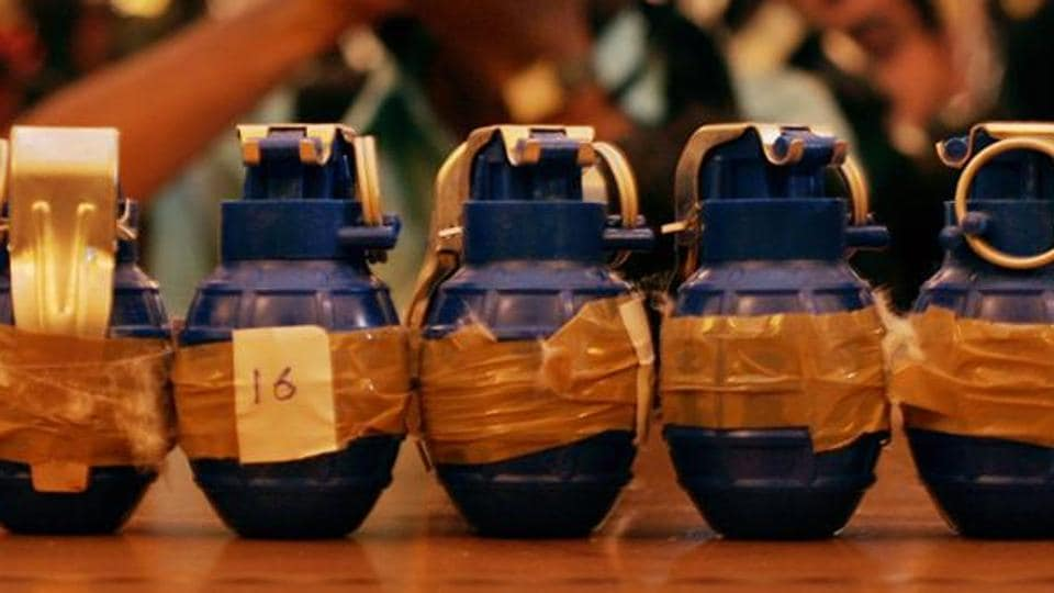 Hand grenades on display.