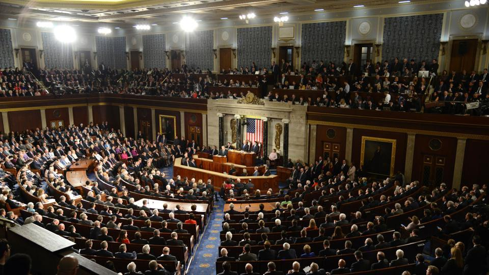 General view of the House of Representatives as US President Donald J. Trump delivers his address to a joint session of Congress, at the U.S. Capitol, in Washington, DC, February 28, 2017.