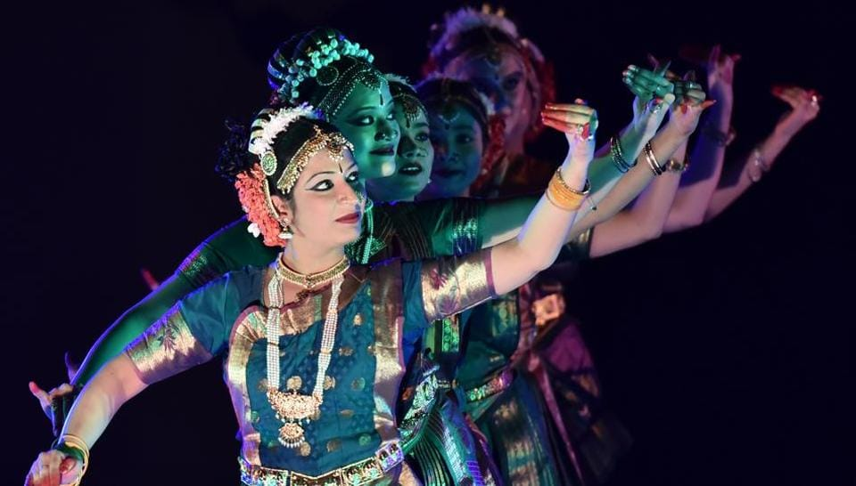 Artistes perform Kuchipudi  during the Gurgaon Kala Utsav at Rangbhoomi Open Air Theatre on Sunday.