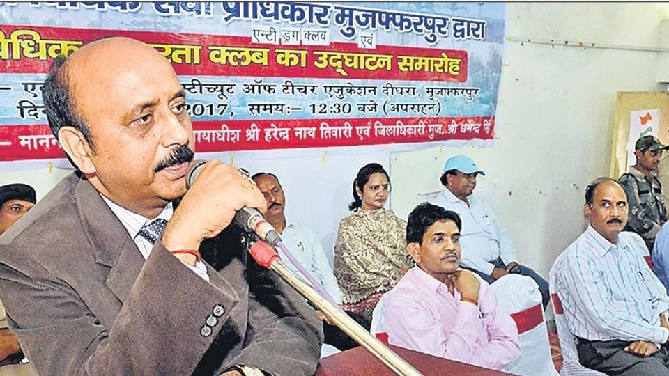 District and sessions judge of  Muzaffarpur, Harendra Nath Tiwari, addressing a gathering at a legal awareness programme on drug trafficking.