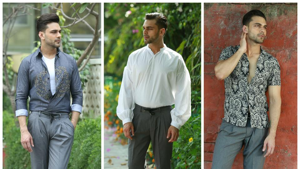 Model Prince Khurana wearing pleated pants in different styles.