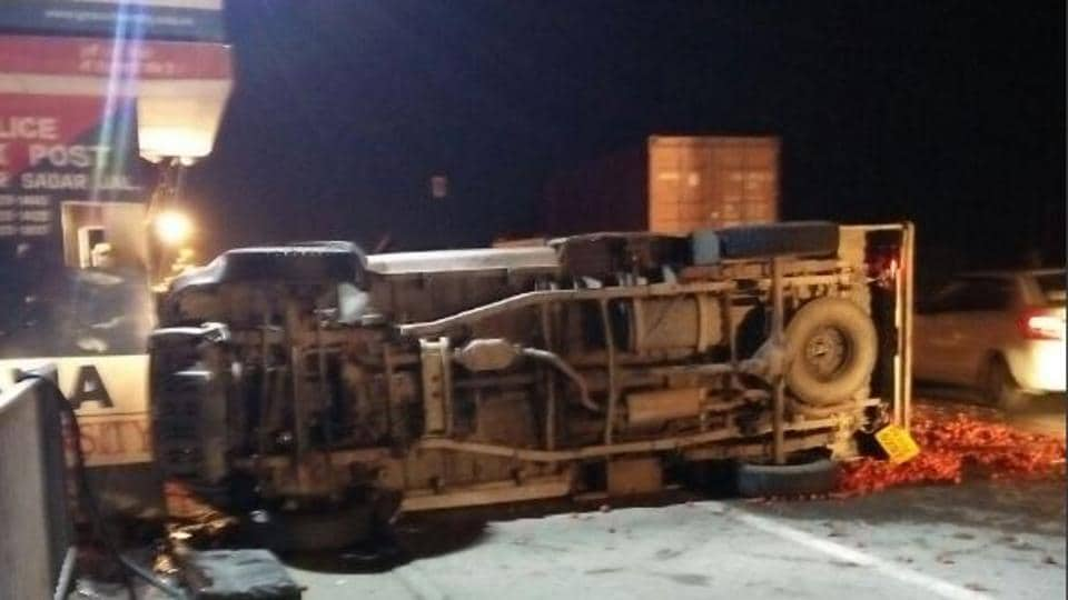 Overturned truck crushed police constable, Karamjeet Singh, who died on the spot.