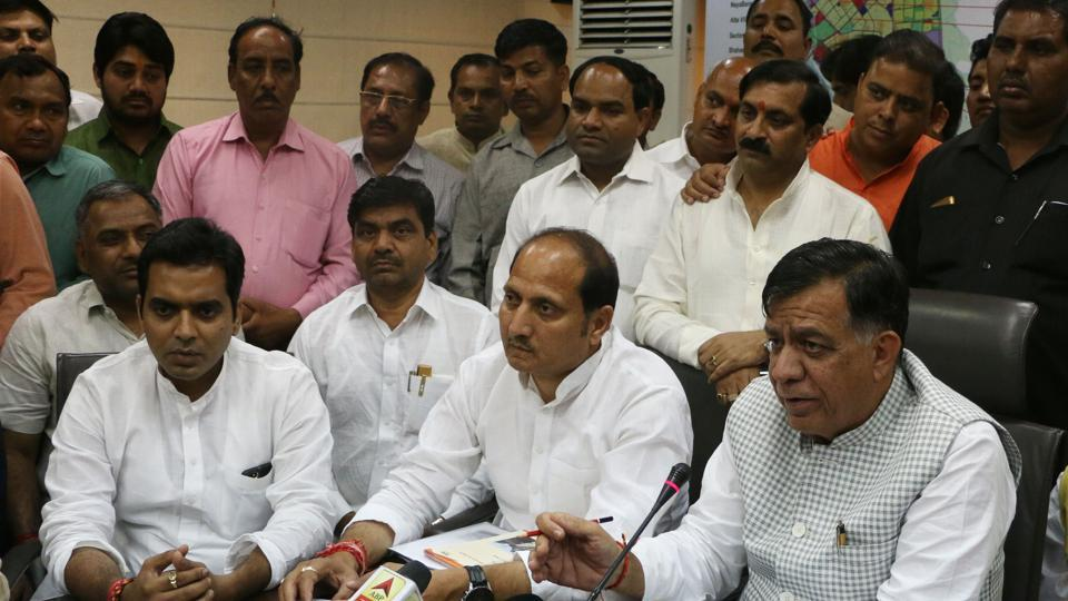 UP industrial development minister Satish Mahana during his visit to Noida on Monday, March 27.