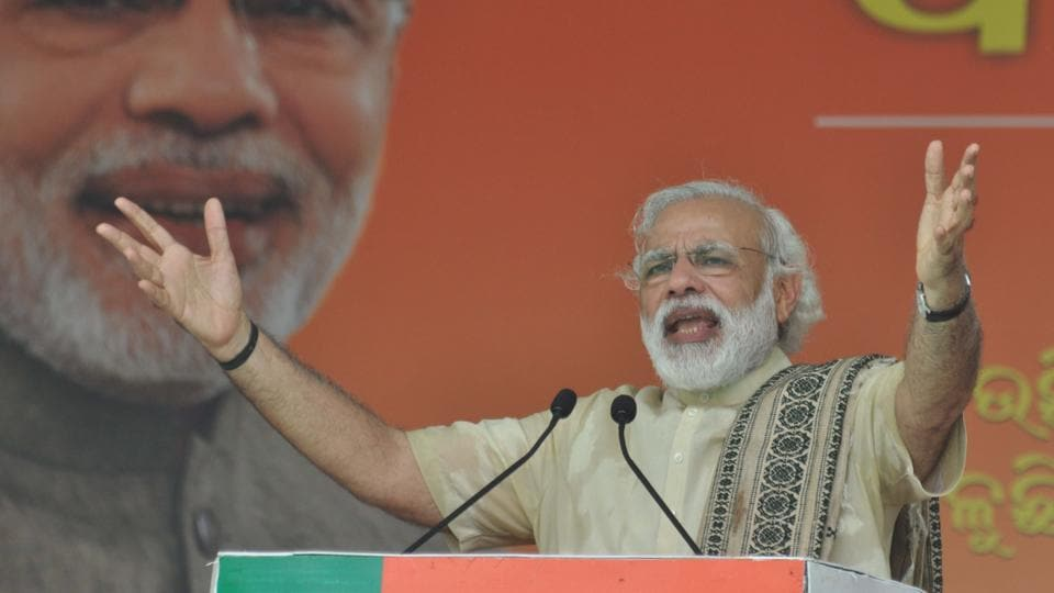 Prime Minister Narendra Modi addresses a rally in Balasore district in Odisha.