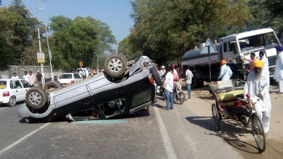 Overturned car which met with an accident in Talwandi Sabo resulting in death of four persons, on Sunday.
