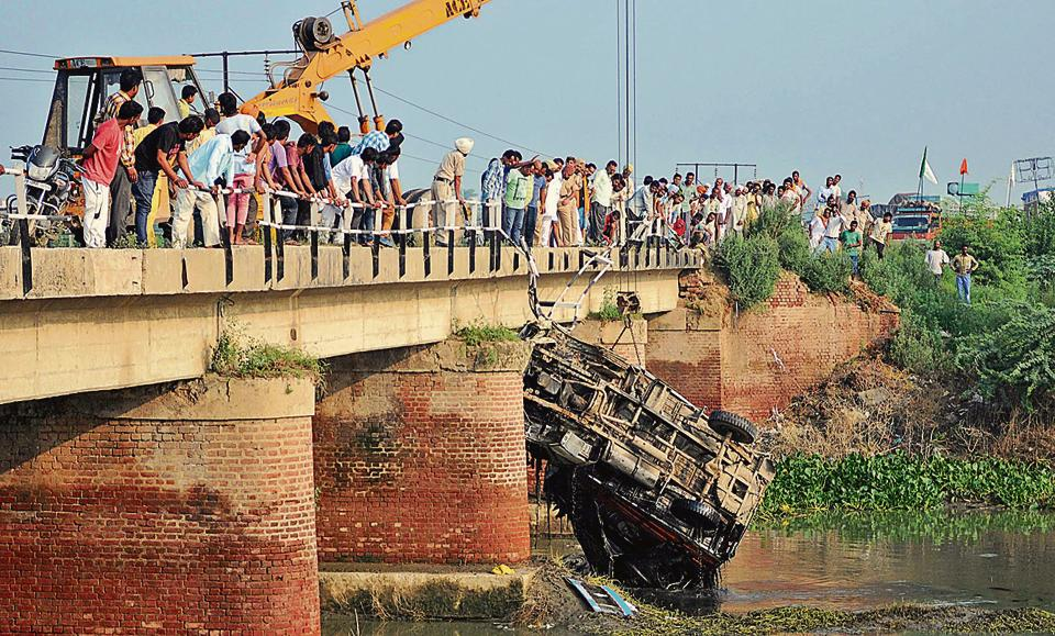 A damaged bridge,which is one of the accident-prone sites near Patran in Patiala district.